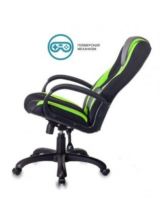 Кресло игровое Бюрократ VIKING-9/BL+SD черный/салатовый искусст.кожа/ткань