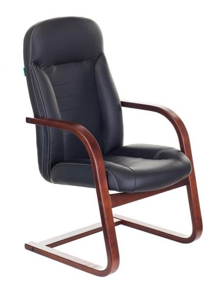 Кресло Бюрократ T-9923WALNUT-AV/BL низкая спинка черный кожа