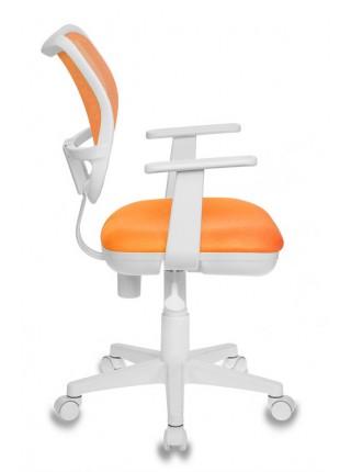 Кресло детское Бюрократ CH-W797/OR/TW-96-1 спинка сетка оранжевый сиденье оранжевый TW-96-1 колеса белый/оранжевый (пластик белый)