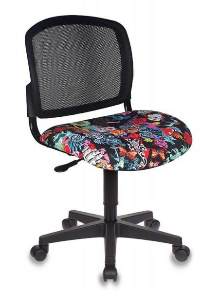 Кресло детское Бюрократ CH-296NX/TATTOO спинка сетка черный сиденье черный черепа Tattoo