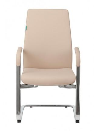 Кресло Бюрократ _JONS-LOW-V бежевый кожа низк.спин. полозья металл хром