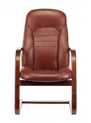 Кресло Бюрократ T-9923WALNUT-AV светло-коричневый Leather Eichel кожа полозья дерево