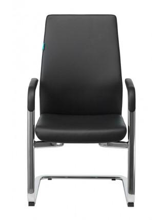 Кресло Бюрократ _JONS-LOW-V черный кожа низк.спин. полозья металл хром