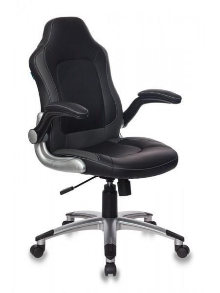 Кресло руководителя Бюрократ CH-825A/BLACK+GR вставки серый сиденье черный искусственная кожа (пластик серебро)