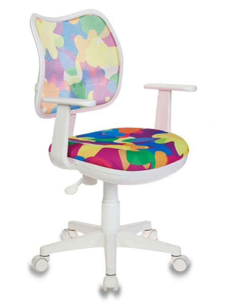 Кресло детское Бюрократ CH-W797/ABSTRACT спинка сетка мультиколор абстракция сиденье мультиколор абстракция (пластик белый)