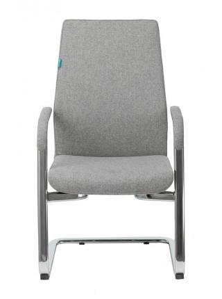 Кресло Бюрократ _JONS-LOW-V серый низк.спин. полозья металл хром
