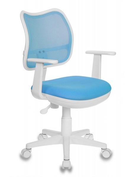 Кресло детское Бюрократ CH-W797/LB/TW-55 спинка сетка голубой сиденье голубой TW-55 (пластик белый)