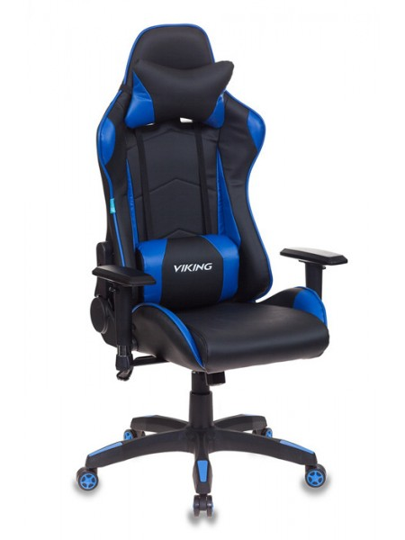 Кресло игровое Бюрократ CH-778/BL+BLUE две подушки черный/синий искусственная кожа
