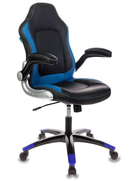 Кресло игровое Бюрократ VIKING-1/BL+BLUE черный/синий искусственная кожа