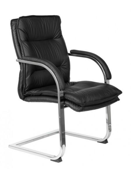 Кресло Бюрократ T-9927SL-LOW-V черный кожа низк.спин. полозья металл хром