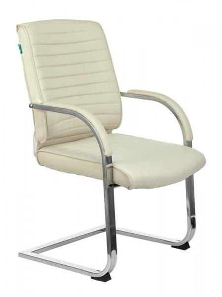 Кресло Бюрократ T-8010N-LOW-V слоновая кость OR-10 искусственная кожа низк.спин. полозья металл хром