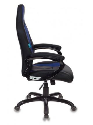 Кресло игровое Бюрократ CH-827/BL+BLUE черный/синий искусственная кожа