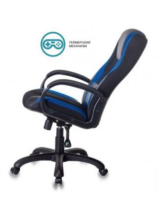 Кресло игровое Бюрократ VIKING-9/BL+BLUE черный/синий искусст.кожа/ткань