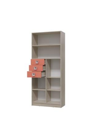 Стеллаж Сити Коралл с ящиками и дверками