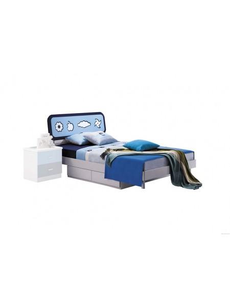 Кровать Bambino MK-4600-BL детская 121х201 см Синий/Белый