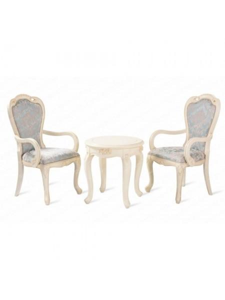 Кофейная группа Милано MK-1891-IV Столик чайные и 2 кресла ткань узор (цвет патины: золото) 0х0х0 Слоновая кость