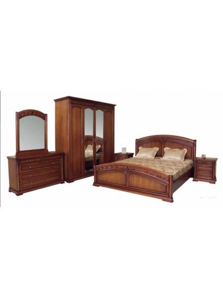 Спальня Валенсия MK-17-DN кровать, 2 тумбы, комод, шкаф 0х0х0 Темный орех