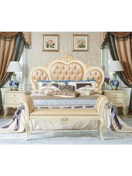 Кровать Милано MK-1885-IV двуспальная с кристаллами (цвет патины: золото) 181х201 см Слоновая кость