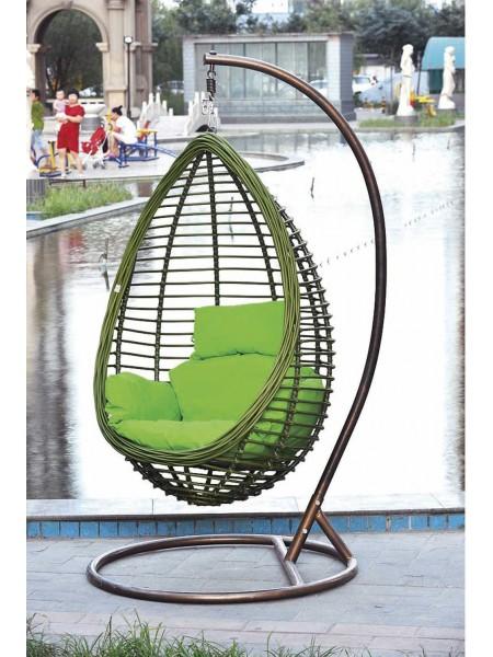 Кресло подвесное MK-3632-GW зеленые подушки 125х100х200 см Коричневый