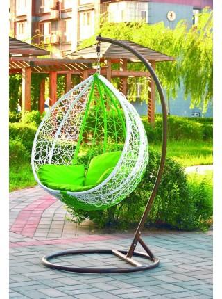Кресло подвесное MK-3628-GW подвесное Искуственный ротанг и зелёные подушки 103х120х200 см Белый/зеленый