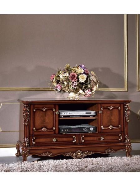 Тумба под ТВ Глория MK-2718-BG (цвет патины: золото) 132х54х67 см Темный орех