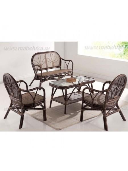 Комплект Yokohaina МК-6112-LB софа, 2 кресла и столик 0х0х0 Коричневы
