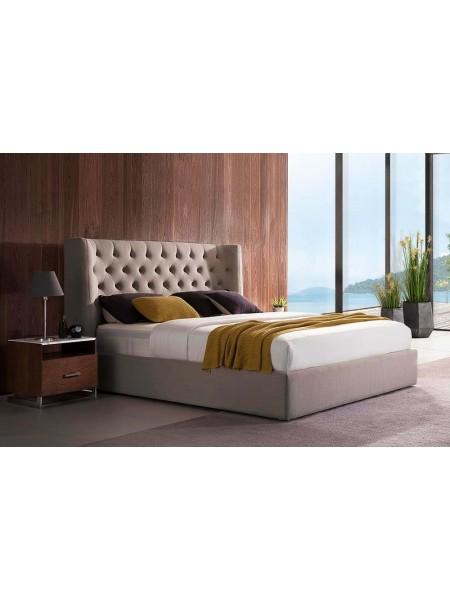 Кровать MK-6601-CBF двуспальная с подъемным механизмом 160х200 см Холодный бежевый