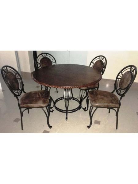 Обеденная группа MK-4800 Стол и 4 стула 0х0х0 Темный орех