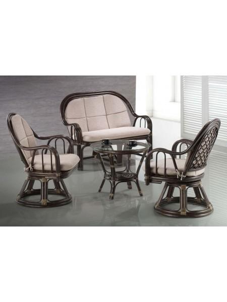 Комплект Zinia МК-6113-BR софа, 2 кресла и столик 0х0х0 Коричневы