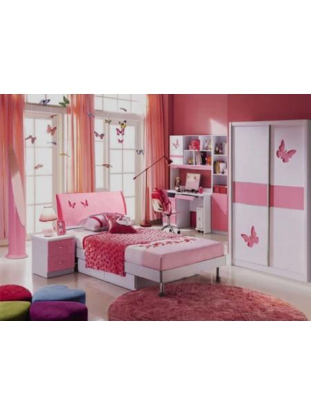 Спальня Piccola MK-4619-PI кровать, тумбочка, шкаф 0х0х0 Розовый/Белый