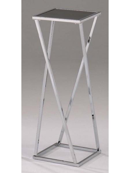 Подставка под цветы MK-2382-L большая с чёрной стеклянной столешницей 30х30х75 см Хром
