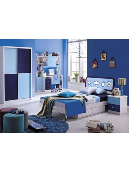 Спальня Bambino MK-4622-BL кровать, тумбочка, шкаф 0х0х0 Синий/Белый