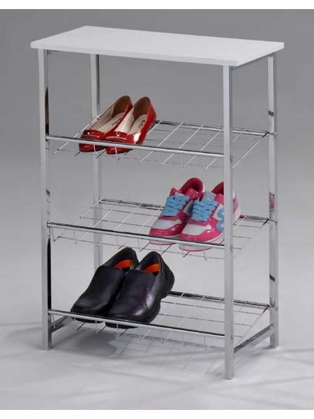 Обувница SR-1193-WT MK-6335-WT 60х28х81 см Белый/хром