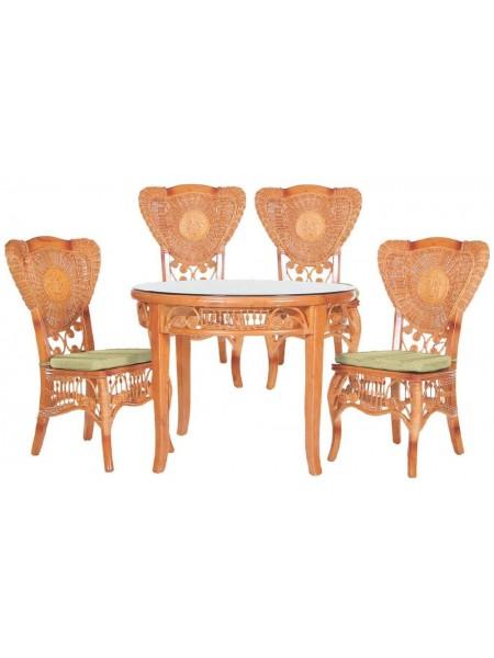 Обеденная группа MK-3450 (стол/МК-3415 и 4 стула/МК-3416) 0х0х0 Медовый