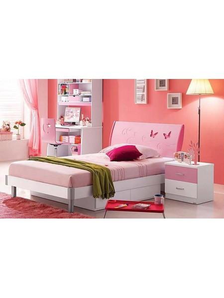 Спальня Piccola MK-4618-PI кровать, тумбочка 0х0х0 Розовый/Белый