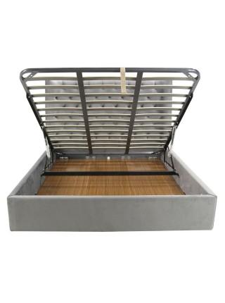 Кровать MK-6604-GPF двуспальная с подъемным механизмом 162х203 см Серый перламутр