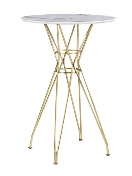 Стол барный на золотых ножках MK-5520-MG 70х70х103 см Белый мрамор
