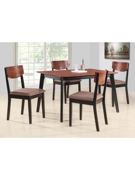 Обеденная группа MK-5302-BF Стол и 4 стула 0х0х0 Черный/Терракотовый