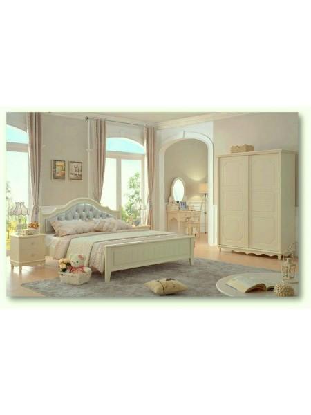 Спальня Emilia MK-4626-IV кровать, тумба прикроватная, комод, шкаф 0х0х0 Слоновая кость