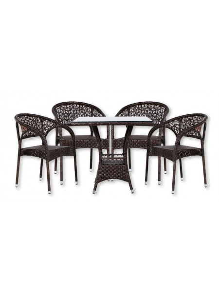 Обеденная группа MK-3603-BR Стол и 4 кресла 0х0х0 Венге