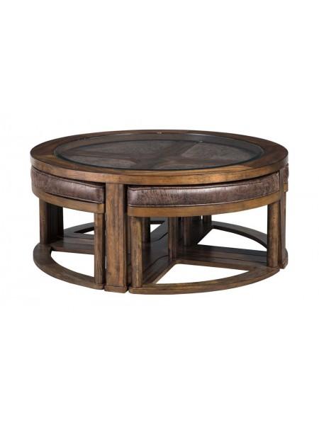 Комплект Hannery T725-8 (журнальный столик и 4 табурета) 102х102х43 см Коричневы