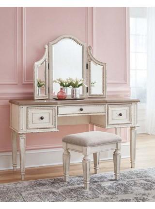 Туалетный столик Realyn B743-22 с зеркалом и пуфиком 137х46х151 см Белый/коричневый