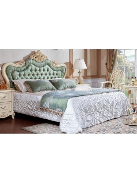 Кровать Милано MK-1860-IV двуспальная с кристаллами (цвет патины: золото) 181х201 см Слоновая кость