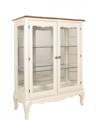 Витрина Florence MK-5049-AWB 2-дверная низкая 80х37х105 см Молочный/итальянский орех