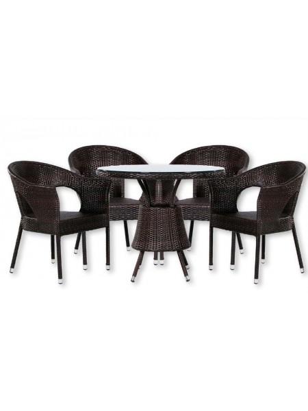 Обеденная группа MK-3601-BR стол и 4 кресла 0х0х0 Венге