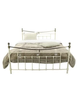 Кровать MK-2230-WB двуспальная 160х200 см Белый с античной медью
