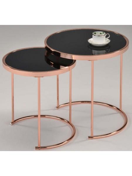 Комплект MK-2376-RG из 2 столиков 0х0х0 Розовый/черный
