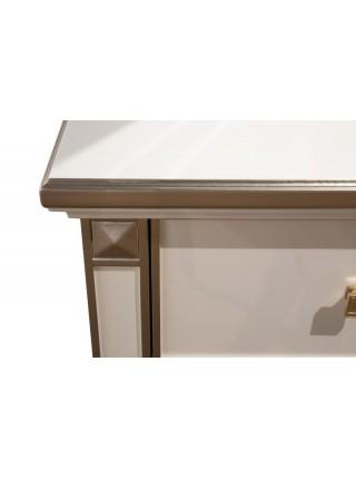 Туалетный столик Тильда с банкеткой MK-6833-PPG (цвет патины: розовое золото) 175х54х196 см Жемчужный