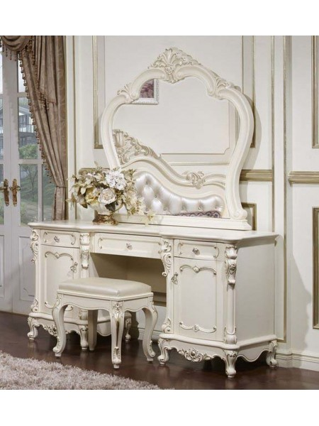 Туалетный столик Глория MK-2708-WG (цвет патины: золото) 157х51х193 см Молочный