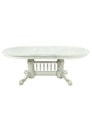Стол HNDT - 4296 SWC MK-1104-WS обеденный раскладной (цвет патины: серебро) 107х164(244)х77 см Античный белый